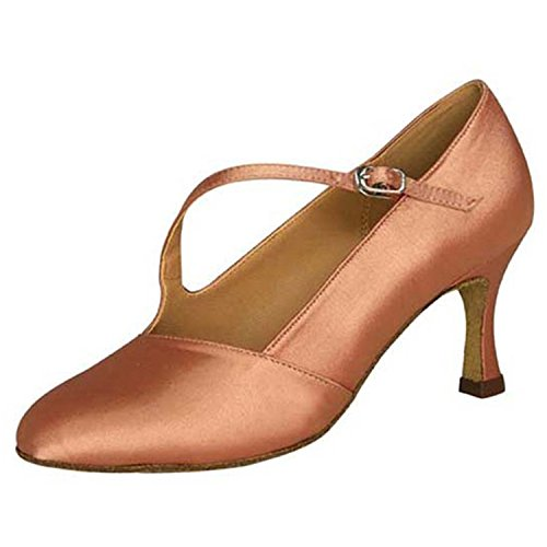 Toe Latin Dance Shoes Round Almond Salsa Women's Tango W972 Heel Shoesland Dance Chunky Ballroom q4ztUFU