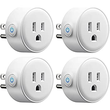 Wifi Smart Plug Mini, GMYLE Smart Home Power Control Socket, Remote Control Your Household Equipment from Everywhere, No Hub Required, Works with Amazon Alexa, Echo Dot & Google Home (4 Packs)