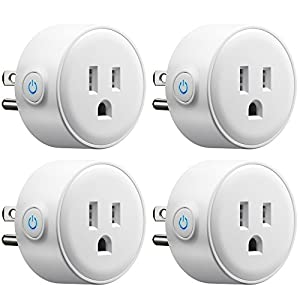 GMYLE Wifi Smart Plug Mini Outlet Socket Work with Alexa, Remote Control Your Electric Devices from Anywhere, No Hub Required, Work with Amazon Alexa Echo Dot & Google Home, White [4 Pack]