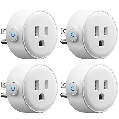 GMYLE 4 Pack Wifi Smart Plug Mini Outlet Power Control Socket, Remote Control Your Electric Devices from Anywhere, No Hub Required, Work with Amazon Alexa Echo Dot & Google Home, White by GMYLE (Image #1)