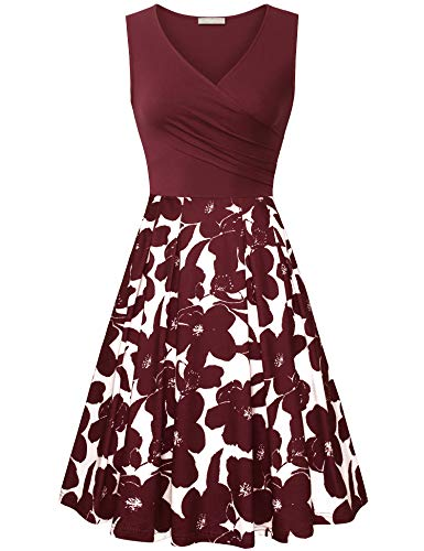Furnex Party Dresses for Women, Womens Red Floral Vintage Cocktail Party Dress Cross Vneck A-Line Casual Midi Dress for Women Knee Length(Large,Multicolor Red)