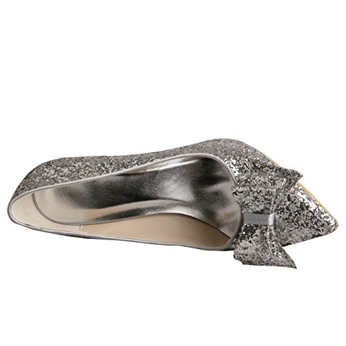 Stiletto Bridal Wedding Prom Silver Glitter Wedopus Pointed Shoes Bow MW449 Toe w1xqBx0nt8