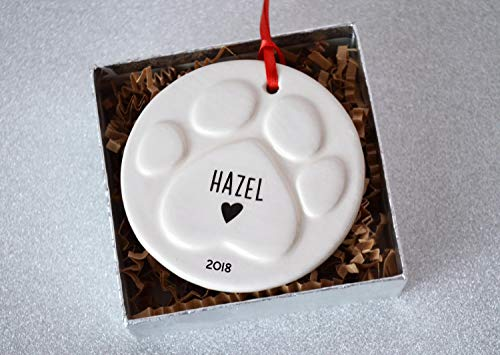Paw Print Christmas Ornament with Name, Dog Bone Ornament, Custom Christmas Pet Ornament, Personalized Dog Gift
