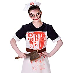 Karnival Zombie Nurse Costume - Bloody Nurse Outfit, Halloween Scary Scrub Uniform, XS