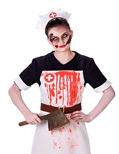Scary Woman (Zombie Nurse Costume - Bloody Nurse Outfit for Halloween and Cosplay, Scary Scrub Nurse Uniform, Size S)