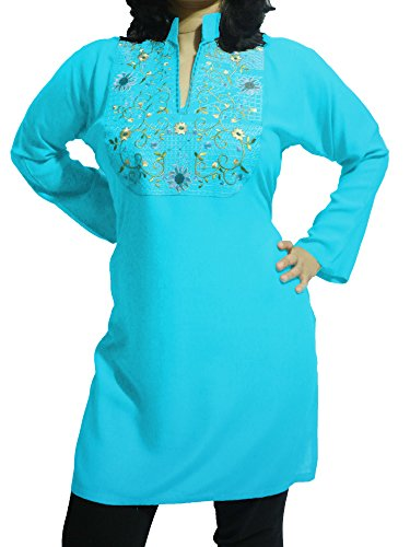 mbroidered Chiffon Silk Tunic (Blue, XS) ()
