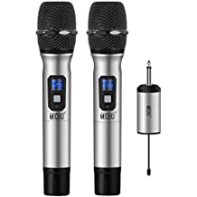 "TONOR Handheld Wireless Microphone System UHF 25 Channel with Mini Receiver 1/4"" Output for PA Systems/Stage/Church/Party/Karaoke/Business Meeting, Silver"