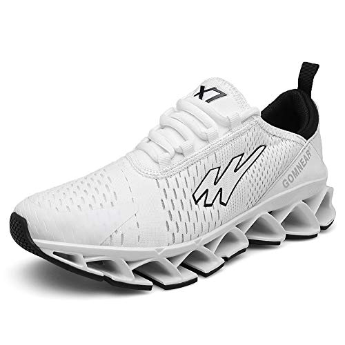 Sun country Mens Running Shoes Lightweight Casual Trainers Outdoor Sports Athletic Breathable Comfortable Tennis Trail Gym Sneakers White43
