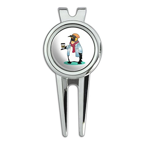 Cool Penguin Hipster with Coffee Golf Divot Repair Tool and