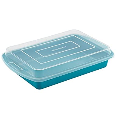 SilverStone Hybrid Ceramic Nonstick Bakeware Covered Cake Pan, 9-Inch x 13-Inch, Marine Blue