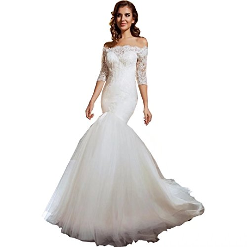 Chady 2017 Off-Shoulder Half Sleeves Mermaid Wedding Dresses Lace Strapless Beading Buttons Back Court Train Tulle Wedding Dresses by Chady