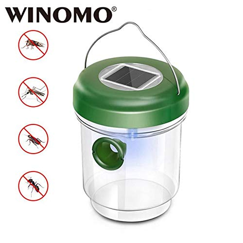 WINOMO 2 Pcs Portable Plastic LED Solar Powered Beehive Trap Wasp Hornet Bugs Flies Pest Killer Catcher with a Hanger