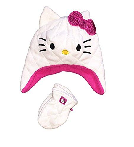 Hello Kitty Little Girls Toddler Plush Soft Fleece Hat Mitten Set Pink White 2T-5T ()