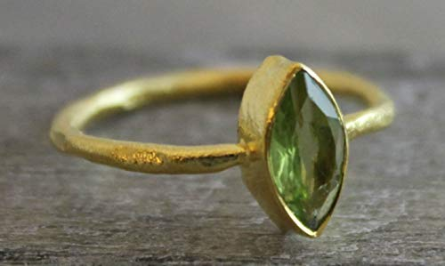 Petite Marquise Peridot Gemstone Gold Plated Sterling Silver Ring, size 6