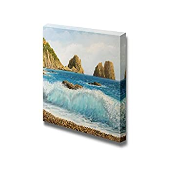 Faraglioni Rock Formation on Island Capri in Naples Bay Area with a Crystal Clear Wave Oil Painting Style - Canvas Art Wall Art - 12