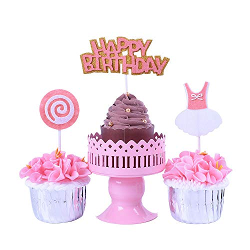 YUINYO Pink Lollipop Happy Birthday Cake Topper and Mini dress cupcake Topper Set of 3, Kit Baby Girl Little Princess First Birthday Party Baby Shower Supplies