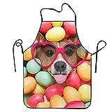 Jerry Warner Custom Humor Dog Sunglasses Easter Egg Muzzle Colors Adjustable Cooking Kitchen Bib Apron for Women Men Chef