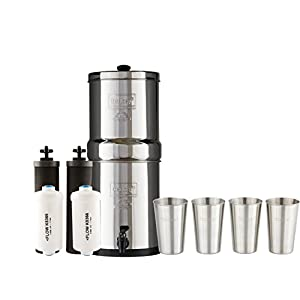 Travel Berkey Water Filter System w/2 Black Purifier Filters (1.5 Gallons) Bundled w/1-set of Fluoride Filters (PF2) and 1-set of 4 12oz Stainless Steel Cups for drinking the best tasting water