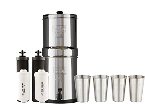 TRAVEL Berkey Water Filter System w/2 Black Purifier Filters (1.5 Gallons) Bundled w/1-set of Fluoride Filters (PF2) & 1-set of 4 Boroux 12oz Stainless Steel Cups for drinking the best tasting water