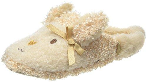 Totes Damen Novelty Rabbit Mule Slippers Flache Hausschuhe Beige