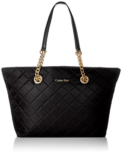 Calvin Klein Florence Quilted Nylon Tote Tote Bag, BLK QUILT, One Size