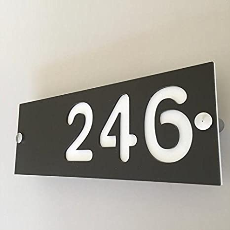 Rectangular Number House Sign , Mocha \u0026 White Matt Finish