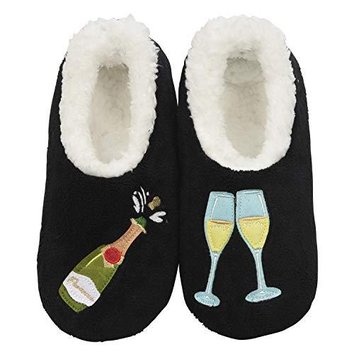 9dbdadafbd38 Snoozies Womens Classic Splitz Applique Slipper Socks | Prosecco Black | X- Large