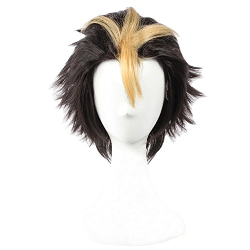 Cosplay 2016 Costumes (Ainiel Men's Fiber Layered Two Tone Cosplay Costume Party Wig Short Yellow Black)