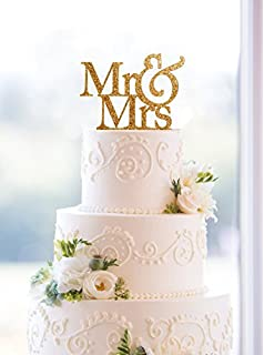 Amazon mirror gold acrylic wedding cake topper party decoration usa sales mr and mrs sign bride and groom cake topper gold junglespirit Choice Image