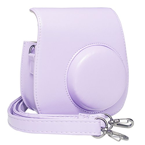 Blummy PU Leather Instax Mini 8 Camera Case for Fujifilm Instax Mini 8/ 8+ Instant Camera with Adjustable Strap and Pocket (Grape) (Polaroid Instax 8 Purple)