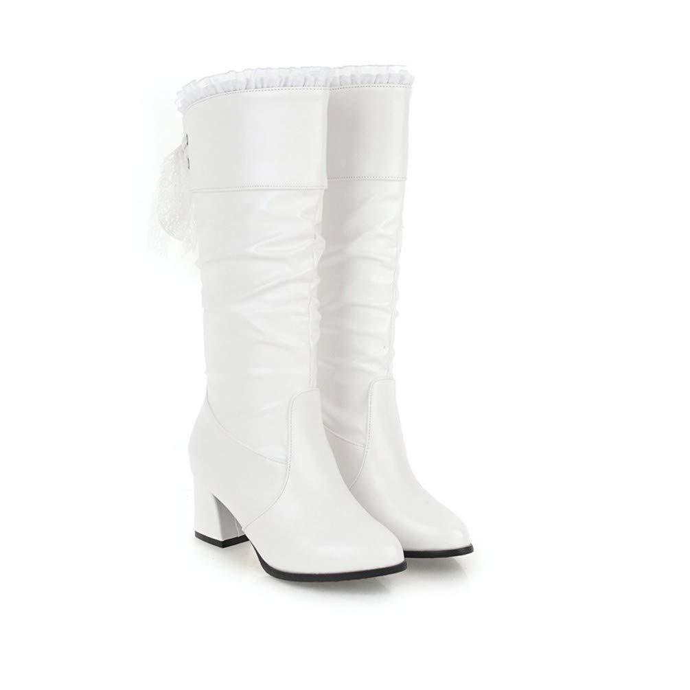 AIKAKA Frauen Herbst und Winter Europa und Amerika Sexy Stiefel warme Hohe Stiefel Ritter Stiefel Sexy Weiß b8a0aa
