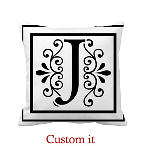 Goldaisy Outdoor Pillowcase Letter J Monogram Pillow Covers 18 x 18inches -