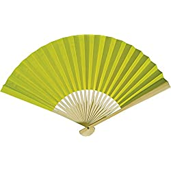 Cultural Intrigue Luna Bazaar Handheld Folding Paper Fan (9-Inch, Chartreuse Green) - In the Style of Chinese, Japanese, Spanish Fans - For Personal Use, Weddings, and Events
