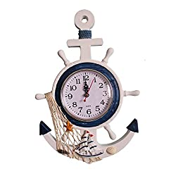 Enjoy Best Time Home Decoration Modern Sea Theme Wall Mounted Clock For Living Room,Bedroom-Big Vintage Analog Time Silent Wooden Hanging Wall Clocks With Rope (One Boat With Starfish)