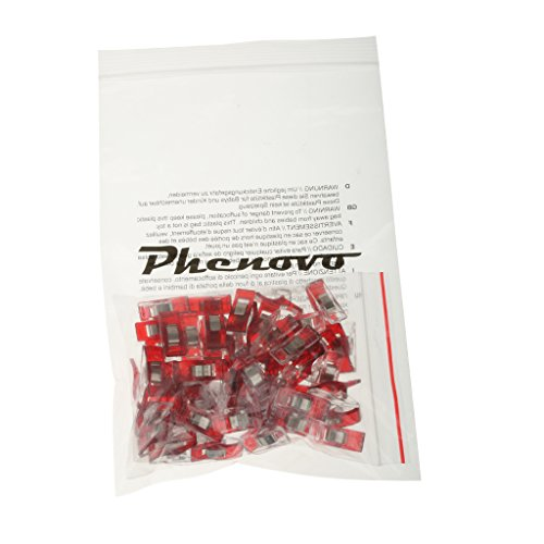 Naehen-Kunst-Decke-Verbindlich-Kunststoff-Clips-Schellen-50pcs-Klar-Und-Rot