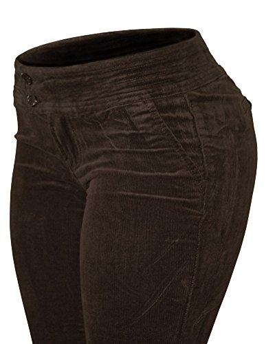 Cielo Women's Corduroy Mini Bell Jeans (5, Brown)