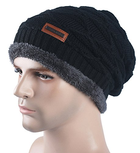 Spikerking New Mens Knitted hats Plush Lining Winter Thick Beanie Hat Skull Cap