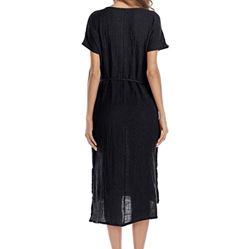 asymtrique Colla Taille Dcontract Robe Ourlet Bringbring Lache V Noir Femmes Poche d't Taille Grande 85fqqwg6x