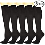 Compression Socks 5 Pairs For Women and Men--Best Athletic, Edema, Varicose Veins,Maternity,Travel,Flight Socks ,Shin Splints - Below Knee High. (Large/X-Large, Black)