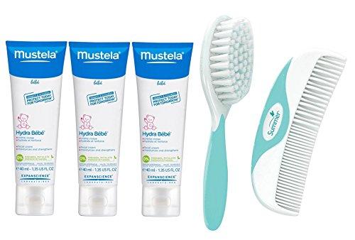 Mustela Hydra Bebe Facial Cream, 1.35 Ounce, 3 Pack with Brush & Comb Set
