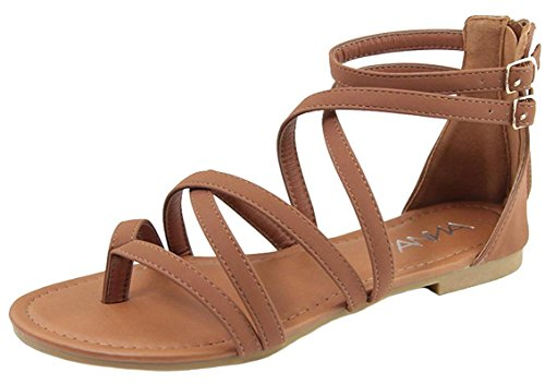 Anna Shoes Women's Strappy Buckle Accent Zip Heel Flat Sandal (6 B(M) US, Tan)