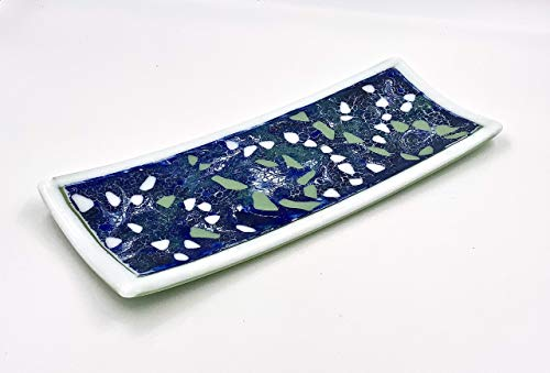 Design Light Blue Fused Glass - Blue and White Fused Glass Decorative Plate With Green Accents