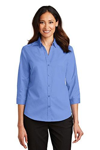 Port Authority Ladies 3/4-Sleeve SuperPro Twill Shirt. L665 Ultramarine Blue ()