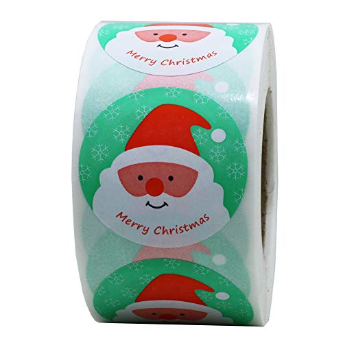 Hybsk Merry Christmas Holiday Santa Claus Stickers 1.5 Inch Round Total 500 On a -
