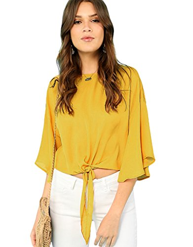 - Floerns Women's Casual Bell Sleeve Chiffon Blouse Tie Knot Front Top Yellow L