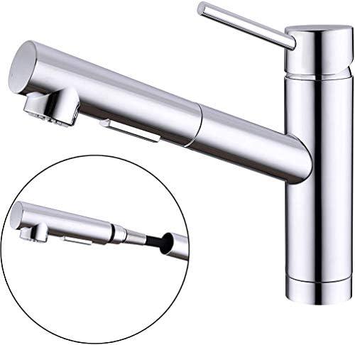 キッチン蛇口 ホース引出し式水栓 混合水栓 シングルレバーワンホールキッチン水栓 伸縮 120度回転 2wayの吐水式 泡沫水流 シャワー 多重クロムメッキ