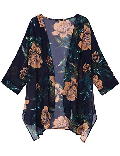 Ckuvysq Women's Floral Print Half Sleeve Kimono Cardigan Loose Casual Cardigan Beach Cover Up