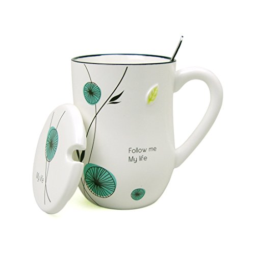 Ziiyan 15 oz Plant Ceramic Milk Coffee Mug Tea Cup with Lid and Spoon, Summer