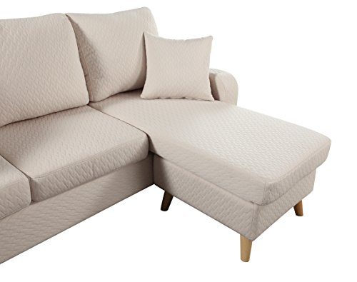 Mid century modern linen fabric small space sectional sofa for Small beige sectional sofa
