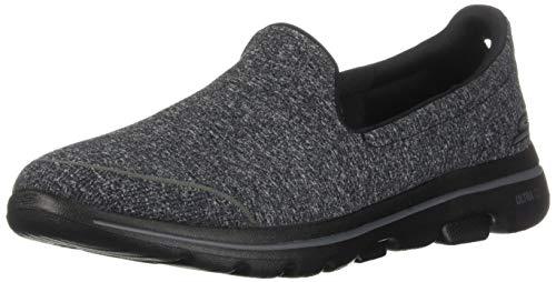 Skechers Women's GO Walk 5-15932 Shoe, Black/Gray, 10.5 M US